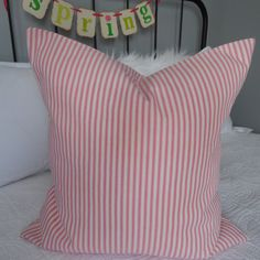 Ticking.PINK and Yellow.Easter Pillow Covers.Spring Pillow Covers.Home Decor. Holiday Decor.Farmhouse Pillow Cover.Slip Covers.Easter Covers by GamGamzhandcrafted on Etsy