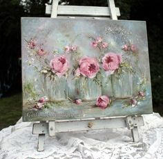 Glass Vases of Flowers on Canvas Stretcher
