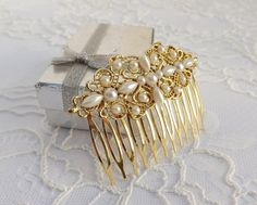 Gold hair comb vintage inspired. gold filigree head piece with pearls. bridal/ bridesmaid gold hair comb.  Click here to purchase: https://www.etsy.com/il-en/listing/176287928/gold-hair-comb-vintage-inspired-gold?ref=shop_home_active_1