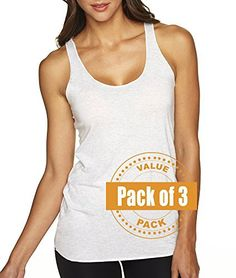 Next Level Womens Tri-Blend Racerback Tank Top 6733-Heather White-Small (3 Pack