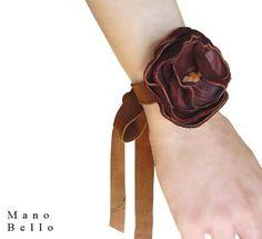 Leather Flower Bracelet, Bohemian Bracelet Cuff in Brown Leather, Tie On Wrap Ribbon, in stock on Etsy, $69.00