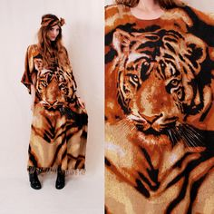 INSANE Vintage Giant TIGER Print Ethnic Tunic - amazing poncho style tunic with all time coolest ethnic print - FREE Worldwide Shipping. $154.00, via Etsy.