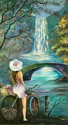 (Watercolor) Girl on bike. Art Drawings Sketches, Beautiful Paintings, Amazing Art, Landscape Paintings, Watercolor Art, Fantasy Art, Scenery, Artwork, Himalayan