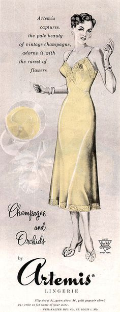 Champagne and Orchids Slip Artemis Lingerie Pale Beauty 1949 Magazine Ad  