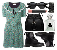 """""""street style"""" by sisaez ❤ liked on Polyvore featuring Kate Spade, Yves Saint Laurent, Dr. Martens, Guerlain, MAC Cosmetics and Disney"""