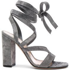 Gianvito Rossi Suede Janis High Sandals (€765) ❤ liked on Polyvore featuring shoes, sandals, heels, cutout shoes, high heel sandals, cut out sandals, high heeled footwear and wrap shoes