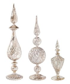 Look what I found on #zulily! Silver Glass Tabletop Finial Set by Evergreen #zulilyfinds