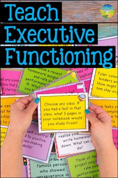 Teaching executive functioning skills to kids and young adults. strategies focus on skills including attention, planning, organization, time management, Teaching Social Skills, Student Learning, Social Activities, Teaching Ideas, Study Skills, Life Skills, Coping Skills, Study Tips, Learning Tips