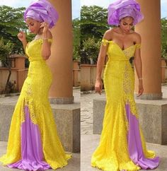 Long yellow lace dress with lavender purple accents ~African Prints, African women dresses, African fashion styles, african clothing ~DK Nigerian wedding bride gele Mermaid Evening Dresses, Formal Evening Dresses, Evening Gowns, Formal Dress, Evening Party, Dress Long, Short Dresses, African Dresses For Women, African Attire