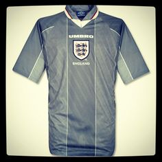 "Euro 2012 countdown: England, Umbro, 1996 - ""tears for heroes dress in grey"" What do you think of when you see this shirt? Gareth Southgate missing that penalty, Shearer banging in the goals or Gazza. School Football, Football Kits, Football Jerseys, Euro 96, Gareth Southgate, Classic Football Shirts, Locker, 1990s, England"