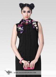 Black Impressive Georgette & Silk Kurti #Black #Kurti #Sleeveless #OOTD #OutfitOfTheSummer #Summertrend #Indiaemporium