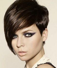 Asymmetrical Pixie Cut Brunette