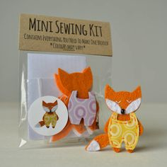 A mini sewing kit containing everything you need to make your own charming fox brooch.There is a choice of dungaree colour, pink, green, purple or yellow (as shown in the photograph). We now offer 10 kits for the price of 9. Just use the drop down box to select this option.The mini craft kits range are handmade in Yorkshire from high quality materials. The mini fox brooch kit contains everything you need to make one brooch and everything is precut making it a nice simple kit for beginners…