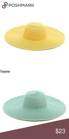 2 for 1! Wide Brimmed Floppy Hat Cute stripped floppy wide brimmed hat. I have two colors available yellow and turquoise. The brim is approximately 6in. Great for spring and summer. Instagram: @shopflutterby Accessories Hats