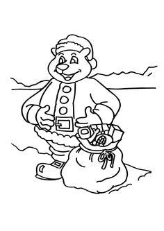 Papa ours déguisé en Père Noël avec un sac plein de cadeaux, à colorier