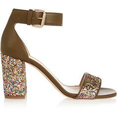 J.Crew Collection glittered leather sandals ($520) ❤ liked on Polyvore featuring shoes, sandals, heels, green, green high heel sandals, strap sandals, strappy heel sandals, buckle sandals and high heel shoes