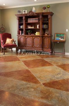 What will Kemiko acid stain and decorative concrete products look like on your floor? Check out our huge photo gallery of stained concrete floors. Stained Cement Floors, Acid Stained Concrete, Concrete Floors, Painting Concrete, Faux Painting, Pattern Concrete, Floor Decor, Bars For Home, Home Projects