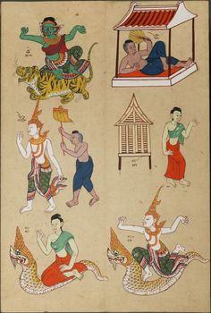 group of fortune-telling zodiac system gods & animals Traditional Paintings, Traditional Art, Thai Alphabet, Indian Roller, Thai Decor, Thai Pattern, Year Of The Tiger, Wood Owls, Thai Art
