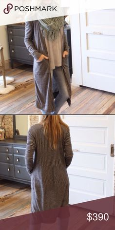 """Gray/Black Striped Long Cardigan Brand new with tag. 43% polyester and 57% rayon. Measurement laying flat: bust: 22"""" length: 43"""". Boutique Sweaters Cardigans"""