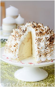 Tres leches bombe alaska recipe (a blowtorched baked alaska) with spiced ice-cream. Adapted from a Martha Stewart recipe.