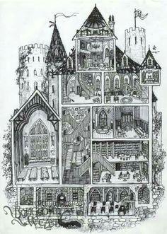 (And yes I know it's not architecturally correct :P) - cross-section daigram, Bohemian Weasel -- Hogwarts cross-section by Soni Alcorn-Hender! Magia Harry Potter, Arte Do Harry Potter, Harry Potter Drawings, Theme Harry Potter, Harry Potter Love, Harry Potter Universal, Harry Potter Fandom, Harry Potter World, Harry Potter Memes