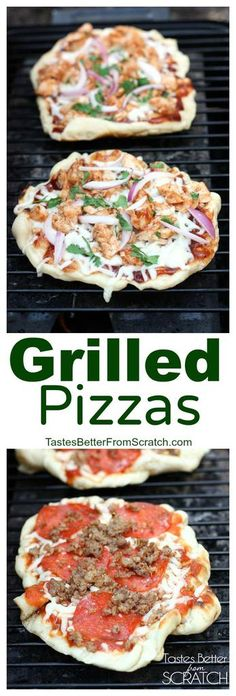 This Grilled Pizzas recipe and tutorialis for homemade pizzas (including homemade pizza crust) that are cooked on the grill!| tastesbetterfromscratch.com #dough #easy #recipe #homemade