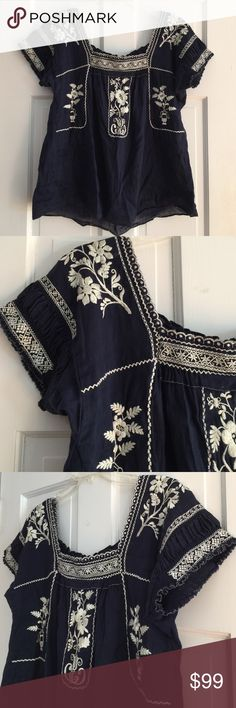 J.crew Embroidered Peasant blouse Navy L 58% Linen/42% Cotton Navy/White J. Crew Tops Blouses