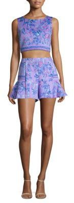 Lilly Pulitzer Two-Piece Neri Printed Scuba Cropped Top & Shorts. Lilly Pulitzer | Purple | Lilac #ad