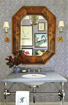Preppy powder room with vintage mirror and audubon bird prints in Naples Florida at Miromar Lakes by interior designer Summer Thornton | www.SummerThorntonDesign.com