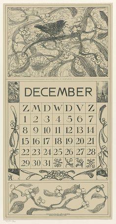 Theo van Hoytema | Winterkoning, Kalenderblad December 1918, Theo van Hoytema, Tresling & Co., c. 1874 - c. 1917 |