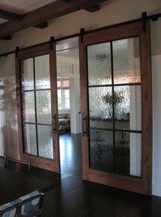 Sliding barn door hardware with glass doors. Sliding Barn Door Hardware, Sliding Doors, Front Doors, Entry Doors, Rustic Hardware, Screen Doors, Door Hinges, Front Entry, Interior Barn Doors