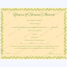 Years of service award 01 certificate and template editable years of service award certificate award awardcertificate awardofservice employeeaward yelopaper Images