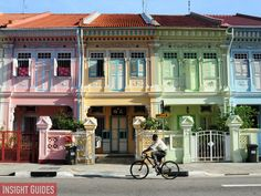 Emerald Hill, Singapore    Close to Singapore's famous shopping stretch, Orchard Road, you will find beautifully colourful and ornate Chinese baroque-style terrace houses adorning Emerald Hill. The 30 or so homes along the road were built between 1901 and 1925.