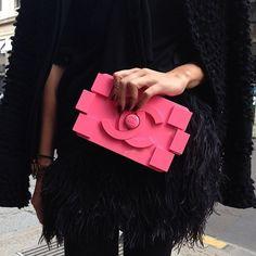 Chanel hot pink logo clutch