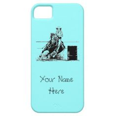 For the barrel racing horse fan. Customizable cell phone covers -- add your name. Printed in the USA.