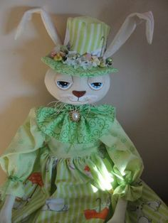 Rabbit Primitive Cloth Doll by MorningMistDesigns for $60.00