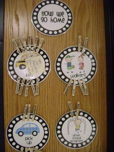 This is a unique way to keep track of how your students go home for the day…