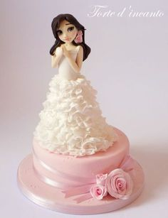 Danielle by Torte d'incanto Wedding Dress Cake, Wedding Cakes, Rapunzel Birthday Cake, First Communion Cakes, Barbie Cake, Bridal Shower Cakes, Cake Decorating Techniques, Rose Cake, Gorgeous Cakes