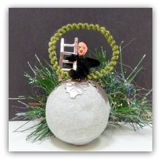 Vintage Christmas Chenille Chimney Sweep Spun Cotton Snowball Ornament $45.00