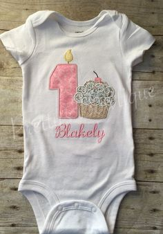 Shabby Chic Cupcake birthday shirt any age.
