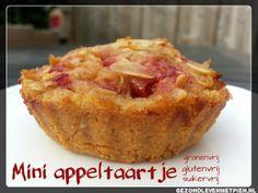 Koolhydraatarme, glutenvrije en granenvrije mini appeltaartjes zonder suiker.  Past natuurlijk bij de Broodbuik eetwijze, maar ook bij Paleo.