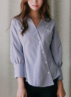 Lässige Kleidung Baumwolle V-Ausschnitt 1050114/1050114 Ärmel Hemd (1050114) @ floryday.com
