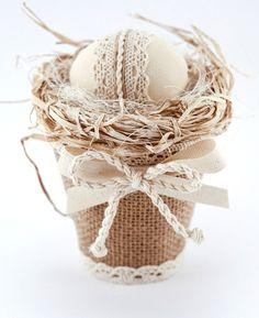 Easter Egg in Decorative Burlap Basket, Easter Ornament, Cottage Chic Decor, Pastel Color Home Decor