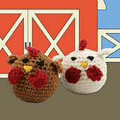 Ravelry: Crocheted Chickens pattern by Sara Delaney..4 inches tall.. Free pattern!
