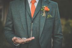 Orange groom's attire... Photography by Michelle Lindsell. #rustic #weddings