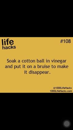 How to make a bruise disappear (fade), supposedly. I'll have to try this. (Life Hacks by jannie)
