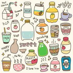 Cute Food Drawings, Mini Drawings, Kawaii Drawings, Easy Drawings, Food Doodles, Kawaii Doodles, Cute Doodles, Happy Sweetest Day, Easy Doodle Art