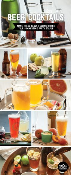 Beer Cocktails - Make these delicious drinks your summertime party staple! Spicy Auburn Ale // Honeyed Peach Wheat Beer // Salty Lager // Spicy Beer Cocktails // Texas Snakebite // The Grace Kelly // Black Licorice Velvet // Honeyed Blackberry Syrup