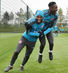 Positive vibes in #training  #Arsenal #Laca #Welbz #MUFCvAFC #COYG