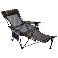 Lounge Camping Chair Grey Reclining Seat Beach Folding Recliner Cup Holder  Pouch #Modern
